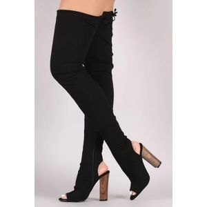 Liliana Stretched Jersey Chunky Heel Over-The-Knee
